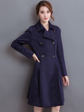 Ericdress Solid Color Double-Breasted Slim Wave Cut Coat