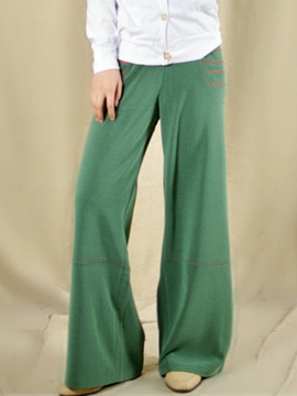 Ericdress Vintage Green Zipper Palazzo Pants