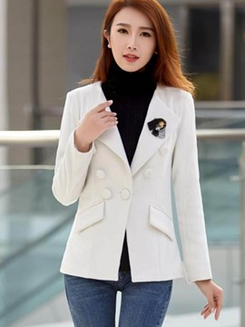 Ericdress Slim Solid Color Turn-Down Blazer