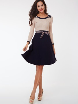 Ericdress Color Block Knitted Patchwork Lace-Up Casual Dress