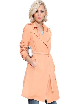 Ericdress Solid Color Slim Lace-Up Sweet Trench Coat