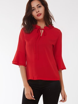 Ericdress Red Tie Front Flare Sleeve Blouse