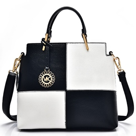 Ericdress Black White Plaid Handbag