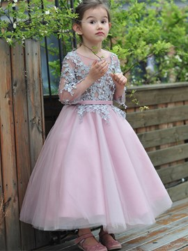 Ericdress Beautiful Scoop Appliques Ball Gown Flower Girl Party Dress