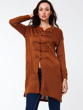 Ericdress Loose Single-Breasted Solid Color Knitwear