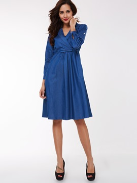 Ericdress Notched Lapel Belt Patchwork Pleated Casual Dress