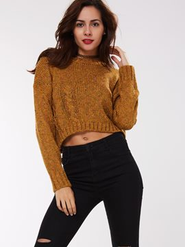 Ericdress Solid Color Pullover Crop Knitwear