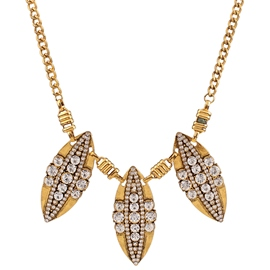 Ericdress Retro Leaves Diamante Necklace