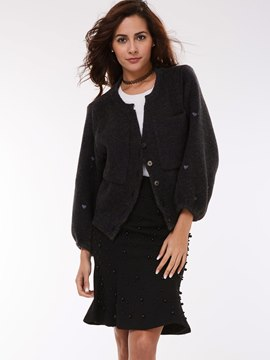 Ericdress Black Casual Cardigan Knitwear