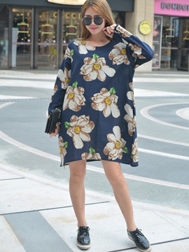 Ericdress Falbala Print Loose Casual Dress