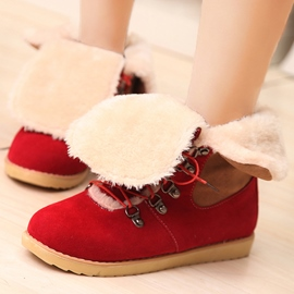 Ericdress Sweet Contrast Color Lace up Snow Boots