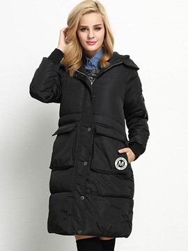 Ericdress Solid Color Straight Hooded Coat