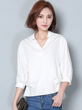 Ericdress White Three-Quarter Down Blouse
