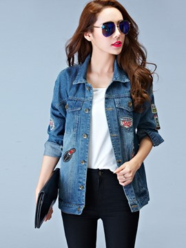 Ericdress Loose Appliques Letters Denim Outerwear