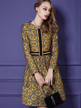 Ericdress Vintage Embroidery Strip Patchwork Casual Dress