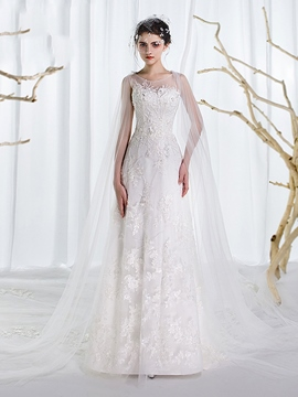 Ericdress Charming Scoop Appliques A Line Wedding Dress