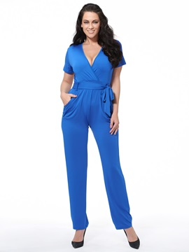 Ericdress V-Neck Lace-Up Plus Size Jumpsuits Pants