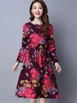 Ericdress Floral Print Pleated Patchwork Casual Dress