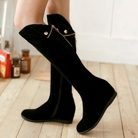 Ericdress Suede Side Zip Knee High Boots