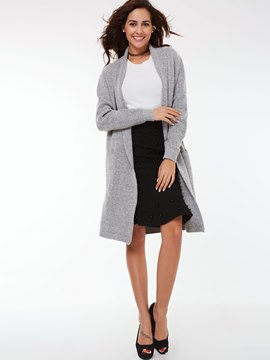 Ericdress Solid Color Loose Knit Trench Coat