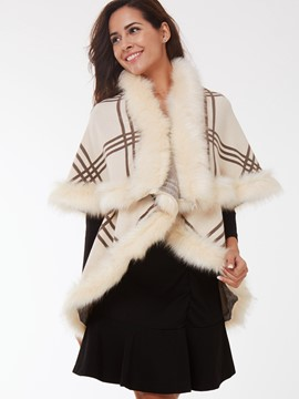 Ericdress Stripe Faux Fur Cape
