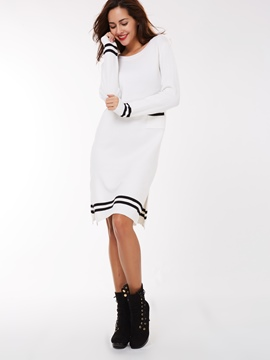 Ericdress Preppy Knitting Strip Patchwork Sweater Dress