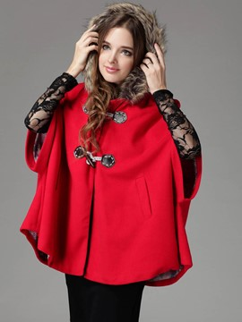 Ericdress Solid Color Batwing Horn Button Cape