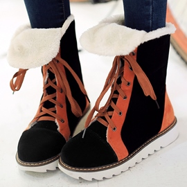 Ericdress Contrast Color Nubuck Snow Boots