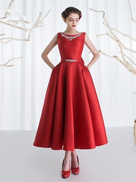 Ericdress A-Line Bateau Beading Bowknot Ankle-Length Prom Dress