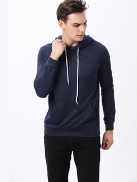 Ericdress Solid Color Casual Long Sleeve Men's Hoodie