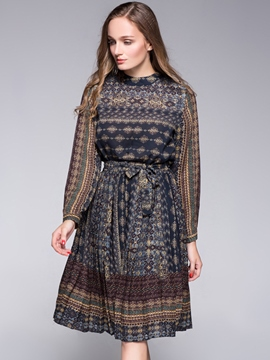 Ericdress Bohemian Cowl-Neck Belt Casual Dress