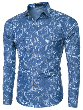 Ericdress Casual Denim Print Men's Shirt