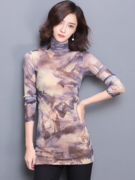 Ericdress Printed Turtle Neck T-Shirt