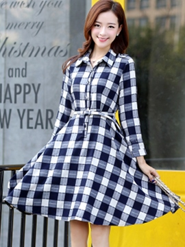 Ericdress Plaid Button Belt Casual Dress