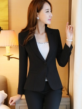 Ericdress Solid Color Slim Blazer