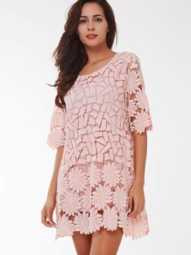 Ericdress Pattern Lace Hollow Half Sleeve Casual Dress