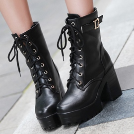 Ericdress Fashion PU Lace up Martin Boots