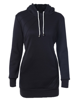 Ericdress Solid Color Straight Lace-Up Hoodie