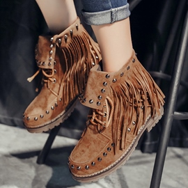 Ericdress Chic Tassel Rivet Ankle Boots