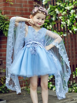 Ericdress Beautiful Appliques V Neck Short Flower Girl Party Dress
