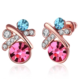 Ericdress Rose Gold X-Shaped Stud Earrings