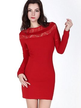 Ericdress Lace Hollow Patchwork Bodycon Dress