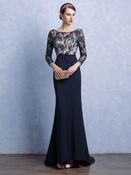 Ericdress Sheath Scoop Long Sleeves Bowknot Lace Court Train Evening Dress