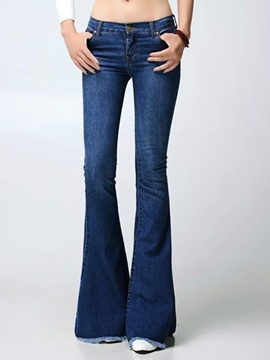 Ericdress Solid Color Fashion Flared Jeans