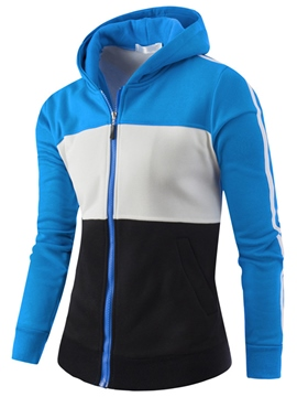 Ericdress Color Block Casual Zip Men's Hoodie