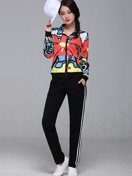Ericdress Long Sleeve Print Jacket Stripe Pants Suit