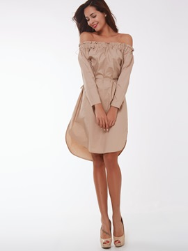 Ericdress Off-The-Shoulder Pleated Lace-Up Casual Dress