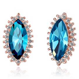 Ericdress Blue Water Droplets Stud Earrings