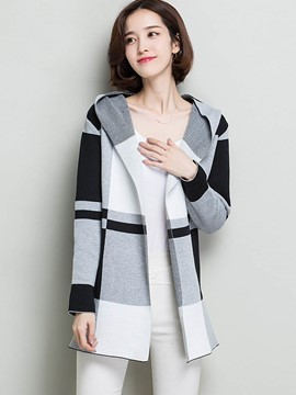 Ericdress Plaid Hooded Knitwear