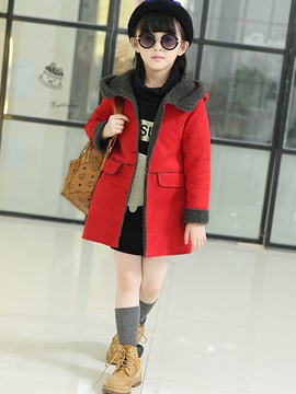 Ericdress Suede Fabric Hooded Girls Coat